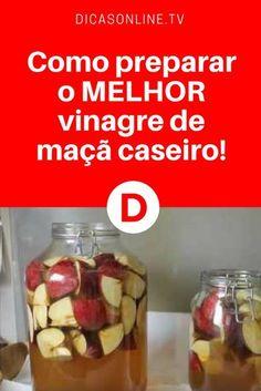 Receita de vinagre de maçã caseiro | Receita superfácil. Além de preparar o seu próprio vinagre de maçã em casa, você vai economizar. Aprenda #DicasOnline #Dicas #Truques #Saude #CuraNatural #ErvasMedicinais #BemEstar #RemediosCaseiros #Receita #ReceitasCaseiras #Cozinha #Culinaria #Comida #Receitas #ReceitaCaseira #ComoFazerVinagreDeMaça #VinagreDeMaçã #Vinagre #Maça #ReceitasFaceis Bebidas Detox, Low Carb Recipes, Healthy Recipes, Good Food, Yummy Food, Bento, Kefir, Kitchen Recipes, Cooking Time