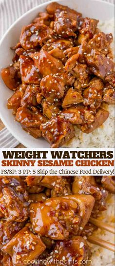 Skinny Sesame Chicken with a spicy and sweet thick glazed flavored with sesame oil is the perfect 3 smart point Weight Watchers takeout copycat recipe! calorie recipes Skinny Sesame Chicken - Cooking Made Healthy Ww Recipes, Copycat Recipes, Asian Recipes, Cooking Recipes, Healthy Recipes, Recipes With Sesame Oil, Recipes Dinner, Cooking With Sesame Oil, Recipes