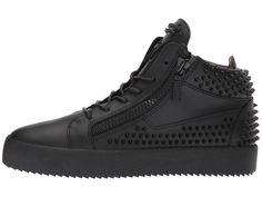 Giuseppe Zanotti May London Mid Top Birel Sneaker Men's Lace up casual Shoes Black
