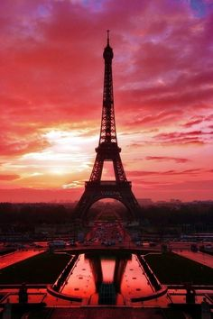 Eiffel Tower with great sunset