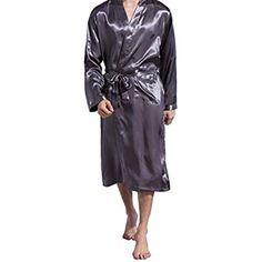 Luckyod Vêtements de Nuit en Pyjama en Satin de Soie pour Hommes Robe Longue  de Nuit Robe de Chambre Peignoirs Amples à Manches Longues Pijama Robe de  ... 4914354ddd2