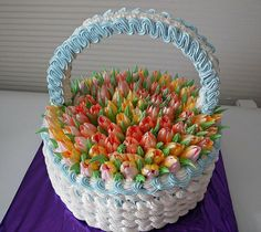 Easter Basket of Tulips Cake