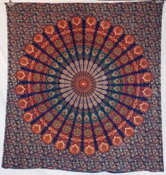 Colorful block printed cotton bed sheet, tapestry, throw, wall hanging.Radiant shades of vibrant color in a beautiful traditional pattern make for a very majestic and beautiful tapestry!