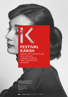 Identity, exhibition poster, exhibition design and website designed for the Karsh Festival held at the Canada Science and Technology Museum in Ottawa in 2009.Designed at UniformExhibition organized in collaboration with Lupien Matteau Architects