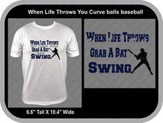 When Life Throws You Curve balls Baseball SVG Cutter Design Silhouette Machine, Silhouette Studio, School Spirit Shirts, Baseball Mom, Vinyl Designs, Applique Designs, Balls, Mens Tops, Life