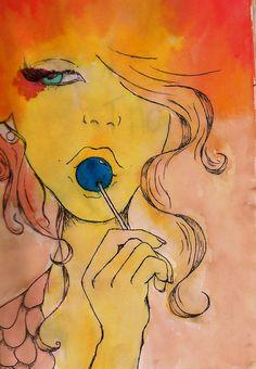 watercolor, fashion, art, girl, lollipop