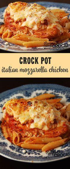 Crock Pot Italian Mozzarella Chicken - A delicious, easy to make Italian dinner! Crock Pot Italian Mozzarella Chicken - A delicious, easy to make Italian dinner! Crock Pot Food, Crockpot Dishes, Crock Pot Slow Cooker, Slow Cooker Recipes, Cooking Recipes, Healthy Recipes, Dinner Crockpot, Crockpot Meals, Crock Pots