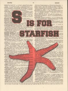 S is for Starfish Vintage Upcycled Book Page by StorybookArtPrints