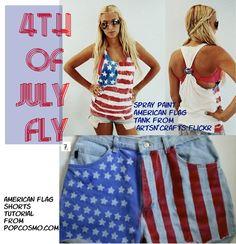 Spray Paint DIY American Flag shorts.