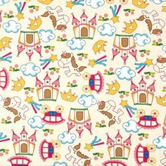 Fantasy World - Unicorns & Castles - Cream/Pink - David Textiles