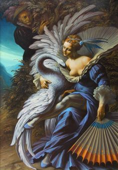 "Leda and the Swan by Bruno d'Arcevia. - Wings of love...I will taste these boobs. - Board ""Beauty-Leda and the Swan"". -"