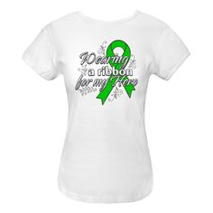 Kidney Cancer Wearing A Ribbon For My Hero Women's Fitted T-Shirts features whimsical decorative elements and a bold awareness ribbon to sport for your hero and raise awareness by Store.Gifts4Awareness.Com $15.99 www.store.gifts4awareness.com