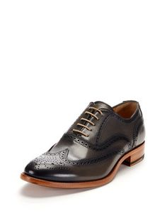 Leather Brogued Wingtip Oxfords