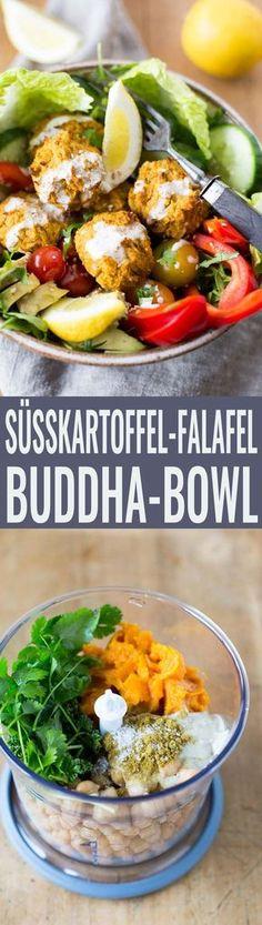 Vegane Süßkartoffel-Falafel Buddha Bowl. Dieses Rezept ist SO einfach und lecker - Kochkarussell.com