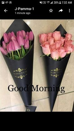 Bouquets of tulips and roses How To Wrap Flowers, Bunch Of Flowers, My Flower, Fresh Flowers, Beautiful Flowers, Flower Packaging, Arte Floral, Flower Boxes, Flower Designs