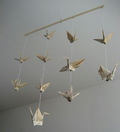 Origami cranes made from pages from books