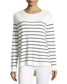 Neiman Marcus Striped Cashmere Bi-Level Top, Women's, Size: XL, Canary Green