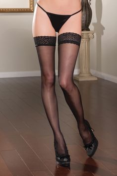 Sheer Lace Top Thigh High Stockings £12.99  The classic thigh high stocking with lace top by Seven til Midnight. You've got legs and you know how to use them!  Show them off in style with a pair of sexy sheer thigh highs with lace top.