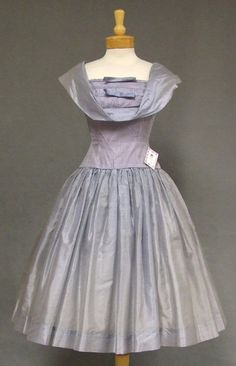 """Sweet Periwinkle Organdy 1950's Cocktail Dress w/ Pin Tucked Bodice.  Label reads, """"Fashioned by Jane Hodges New York."""""""