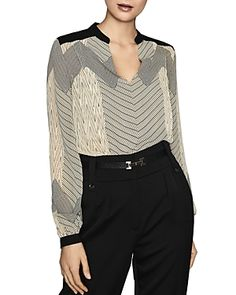 Reiss Zanna Zig-zag Printed Top In Black/neutral Reiss Fashion, Zig Zag, Black Tops, Pullover, Blouse, Sweaters, Prints, Clothes, Shopping