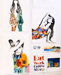 Meagan Morrison's fashion illustration studio wall