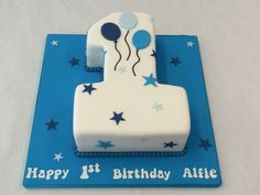 Small Number One Cake with Balloons - Children's Birthday Cakes - Celebration Cakes 1st Birthday Cake Designs, Birthday Cake Kids Boys, Number Birthday Cakes, Baby First Birthday Cake, Baby Birthday Cakes, Baby Boy Cakes, Cakes For Boys, Birthday Cake Toppers, Flower Birthday