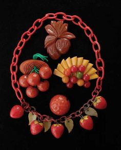 Bakelite Fruit Necklace and Pins