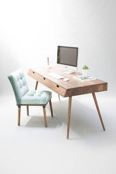 Desk in walnut/oak wood Bureau dressing table office desk Mid Century Tantik Home Office Furniture, Furniture Design, Walnut Bedside Table, Study Table Designs, Wall Shelving Units, Solid Wood Shelves, Solid Wood Furniture, Office Interior Design, Table Desk