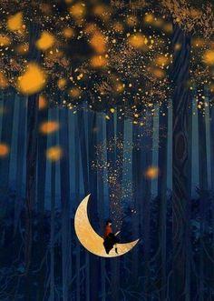 Magic Art, Stars And Moon, Beautiful Moon, Good Night, Drawings, Gb Bilder, Holiday Decor, Quotes, Pretty Images