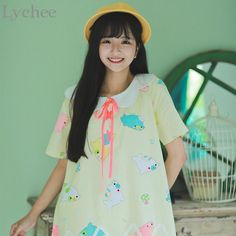 Lychee Lolita Japan Summer Women Dress Cartoon Mamegoma Seal Print Sailor Collar Kawaii Bandage Dress