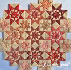 First nine blocks of my Alabama Star quilt, free pattern at http://iloapp.jeanneke.com/blog/www?Home&post=172