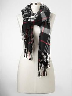 Cozy plaid scarf in black night $29.95| Gap