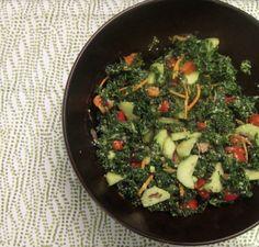 kale salad with basil-avocado dressing | vegan, paleo, gluten free