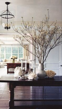 interior design, decor, design homes, centerpiec, beach hous, branches, design styles, dining tables, french grey