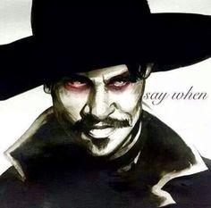 Those eyes! - Val Kilmer, Doc Holliday from Tombstone. Tombstone Movie Quotes, Tombstone 1993, Doc Holliday Tombstone, Im Your Huckleberry, Val Kilmer, Wyatt Earp, Cowboy Art, Maquillage Halloween, Western Movies