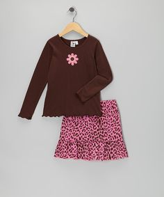 Take a look at this Brown Flower Tee & Pink Skirt - Girls on zulily today!