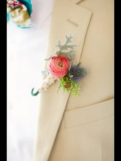 Ranunculus grooms boutonnière/ summer wedding Flowers-Keiley Caldwell  Photography-Happy Everything Co. Athens Ga