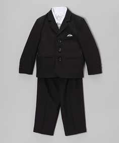 Look what I found on #zulily! Black & Silver Five-Piece Suit Set - Infant, Toddler & Boys #zulilyfinds