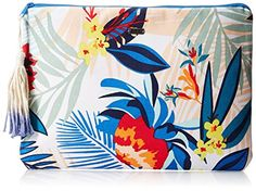 Women's Clutch Handbags - Roxy Hello Again Clutch Canary Islands Combo Sand Piper One Size *** Read more at the image link. Tassel Purse, Canary Islands, Tote Handbags, Roxy, Cotton Canvas, Tapestry, Purses, Clutches, Artwork