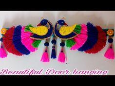 DIY easy woolen peacock door hanging/ Toran making/ Door hanging wool/Am. Diy Arts And Crafts, Creative Crafts, Handmade Crafts, Quirky Diy Crafts, Diwali Diy, Diwali Craft, Door Hanging Decorations, Diwali Decorations, Wall Hanging Designs