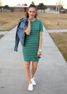 Spring Dress With Denim - spring outfit ideas, simple style, cute everyday outfits, women's fashion.