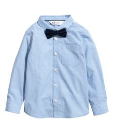 Shirt with Tie/Bow Tie | Blue striped/bow tie | KIDS | H&M US