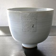 Rupert Spira Deep bowl  Embossed letters under chun glaze, stoneware