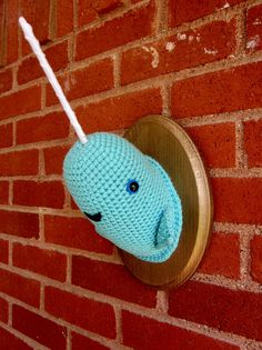 Becca the Narwhal!! THE cutest handmade wall decor and pillows! You can ask for any custom color combos. SO CUTE. #craft #crochet