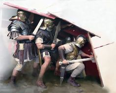 Under the cover of a testudo (tortoise). Under cover of a 'testudo' the formation of Roman legionaries who protected themselves with shields to avoid enemy darts. Military Art, Military History, Ancient Rome, Ancient History, Imperial Legion, Roman Armor, Rome Antique, Roman Legion, Roman Soldiers