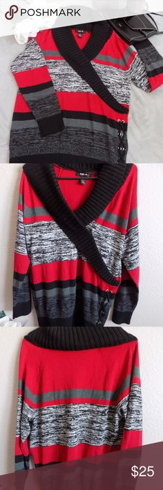 NWT Tricolor Long Sleeve Sweater Very cute sweater for winter! This sweater is  new with tags from Style & Co. 60% Cotton and 40% Acrylic. It  is stretchable. Pit to pit is approximately 21.5, 31L. Style & Co Sweaters V-Necks