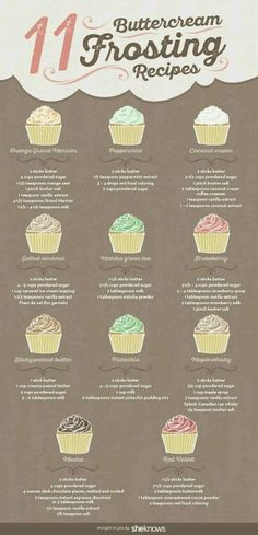 11 different buttercream frosting