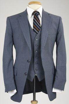 Vintage Botany 500 Charcoal Pinstripe Wool 3 Piece Suit 40 R