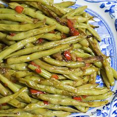 Green beans and red bell peppers are a tasty combination!