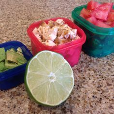 Fiesta lime chicken mix...yep this was made from LEFTOVERS. Must try. Easy and refreshing summer meal. 21 Day Fix and Paleo approved of course!